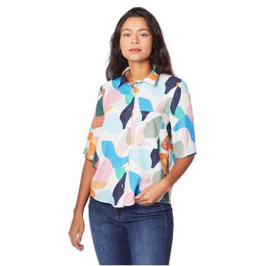 Imagem de Camisa Estampada, Sommer, Feminino, Off/Azul/Rosa/Laranja/Amarelo/Preto/Bege/Verde/Vermelho, PP