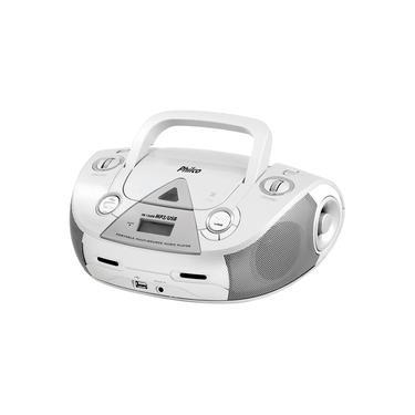 Som Portátil Philco PB126 com CD Player MP3 Rádio FM Entrada USB e Auxiliar de Áudio - Branco