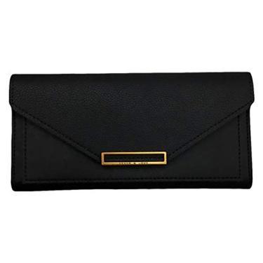 Valicclud carteira feminina retrô bolsa clutch envelope bolsa de mão PU bolsa de mão para presentes de festa feminina e meninas (preto), Preto, 19X9X1.5CM