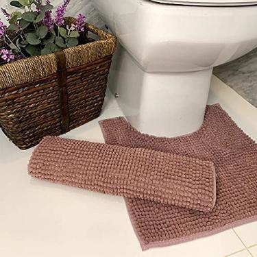Imagem de Tapete De Bolinha Para Banheiro Antiderrapante Microfibra 45X65cm (Rosa Claro)