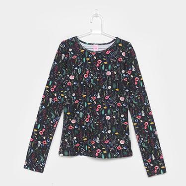Camiseta Infantil Lilica Ripilica Floral Manga Longa Feminina - Feminino 3487ed0d08a24