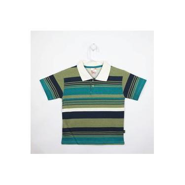 Camiseta Infantil Masculina Manga Curta Creme, Verde E Azul Marinho