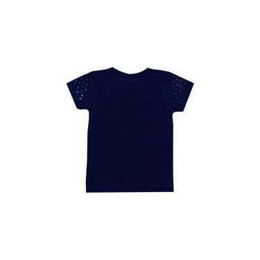 blusa infantil menina manga curta kyly azul marinho