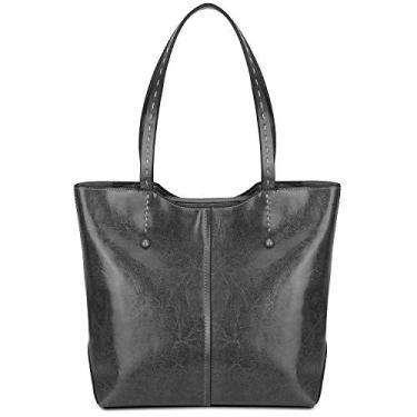 Bolsa de ombro feminina de couro com alça superior da Gywon, Cinza, Large