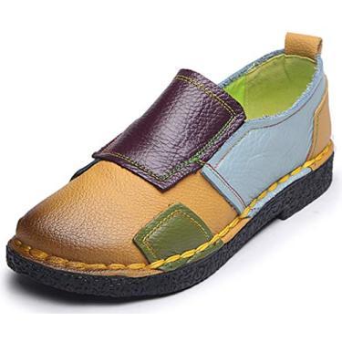 Sapato feminino Clarsunny étnico de couro legítimo feito à mão com bico quadrado multicolorido, Yellow-square, 8.5