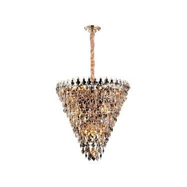 Lustre de Cristal Paris 89cmx85cm Bella Iluminação Transparente/Dourado