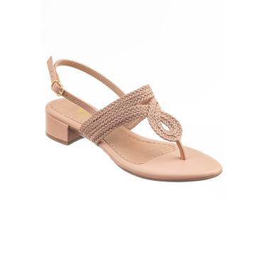 Sandália com Saltinho Baixo Quadrado Via Birigui com Trisse Nude  feminino