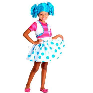 Imagem de Fantasia Boneca Infantil Lalaloopsy Azul Vestido Mittens Fluff de Luxo