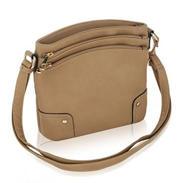 Bolsa transversal MKF para mulheres – Bolsa carteiro de couro PU com zíper triplo – Bolso transversal, alça de ombro, Taupe Kessi, Small