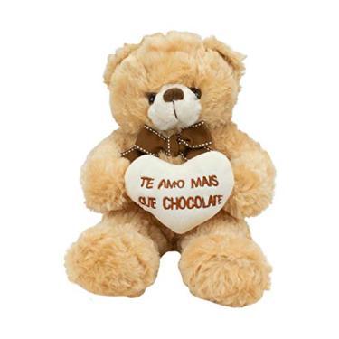 Imagem de Urso de Pelúcia 21 cm Coração Te Amo Mais Que Chocolate Fofy