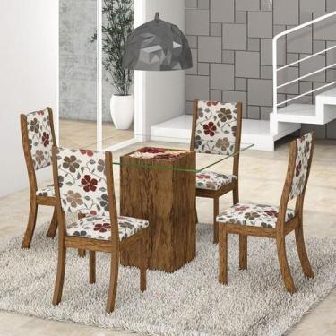 Imagem de Conjunto Para Sala De Jantar Mesa Tampo De Vidro E 4 Cadeiras Espresso