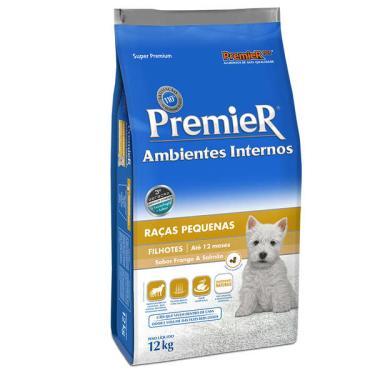 Ração Premier Pet Ambientes Internos Cães Filhotes Frango e Salmão - 12 Kg