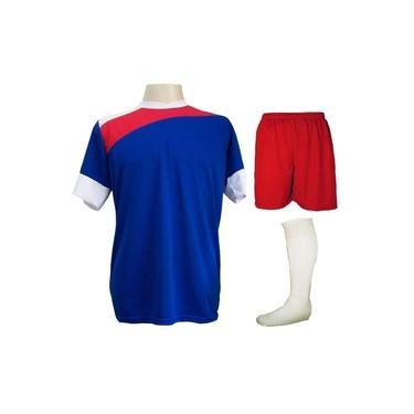 Uniforme Espotivo Completo modelo Sporting 14+1 (14 camisas Royal/Vermelho/Branco + 14 calções Madrid Vermelho + 14 pares de meiões Brancos + 1 conjunto de goleiro) +
