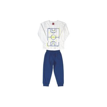 Conjunto Bee Loop Camiseta em Malha Branca e Calça Moletom Azul