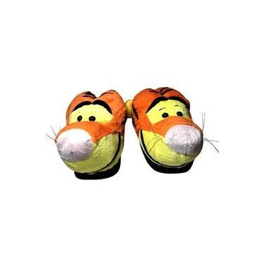Pantufa De Pelúcia 3d Infantil Personagem Tigrão - Turma Do Urso Ursinho Pooh - Disney Ricsen - Tamanho 28/30