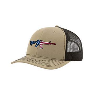 Trenz Shirt Company Boné de caminhoneiro masculino com bandeira americana AR-15 Patriótico 2ª emenda bordado de malha atrás, Cáqui/Café, tamanho �nico