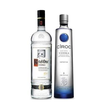 Kit com 1 Vodka Ketel One 1lt + 1 Vodka Ciroc Natural 750ml