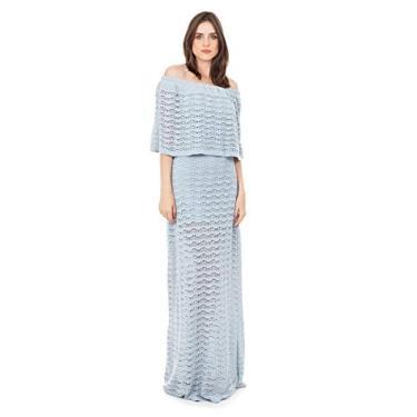 Tricô Vestido Longo de Tricot Bella Store Renda Pala Ombro a Ombro Feminino Cor:Azul Claro;Tamanho:Único;Gênero:Feminino