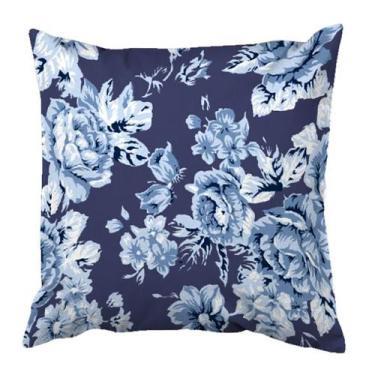 Imagem de Capa Para Almofada Canvas Flora Azul - Damata