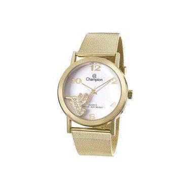 706787234ef Relógio Analógico Feminino Champion Social CN28526H Dourado - Pulseira de  Aço