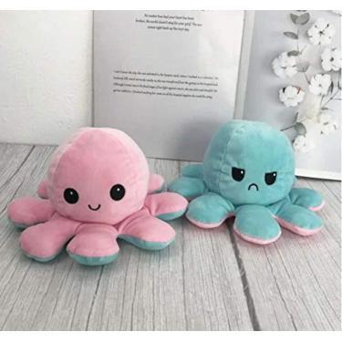 Imagem de Polvo de Pelúcia Reversível Expressões de Humor - Azul e Rosa