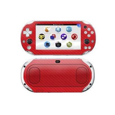 Kit Skin Adesivo Protetor 4D Fibra de Carbono PS VITA Playstation 2000 Slim (4D Vermelho)