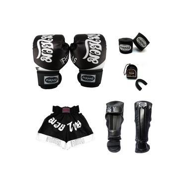 Kit Muay Thai Top - Luva Bandagem Bucal Caneleira Shorts - 10 Oz Tailandês Preto