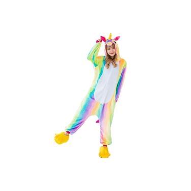 Pijama Kigurumi Unicórnio Arco-iris Macacão Estampado