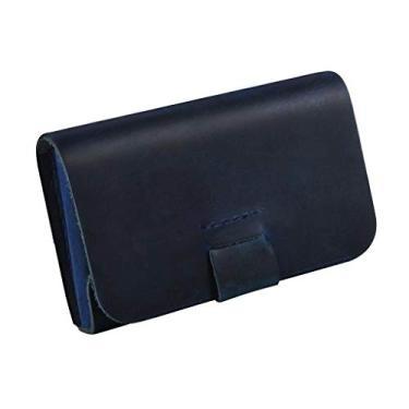 figatia Carteira de Bolso Frontal de Couro Fino Masculino Feminino Porta-moedas Titular Do Cartão de Crédito - Azul