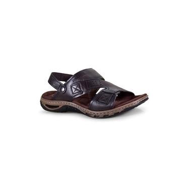 Sandália De Couro Pegada Masculina Solado Costurado Confortável