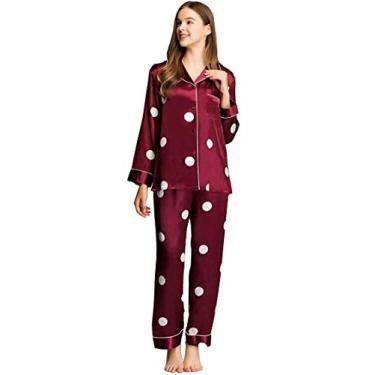 Pijama Lonxu feminino de cetim com botões, pijama comprido, PP-3GG, Classic Wine Red, XX-Large