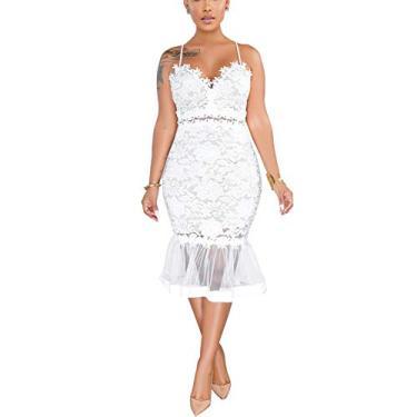 Imagem de Vestido sexy de renda com decote em V, alças finas, saia midi vazada, Branco, XX-Large