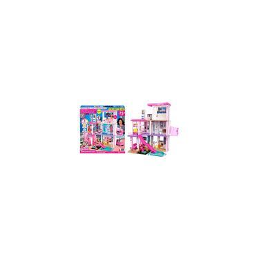 Imagem de Barbie Dreamhouse (3,75 pés) Playset de casa de bonecas de 3 andares com piscina e escorregador, sala de festas, elevador, área de recreação para filhotes, luzes e sons personalizáveis, mais de 75 peças, presente para crianças de 3 a 7 anos, novo para 2021