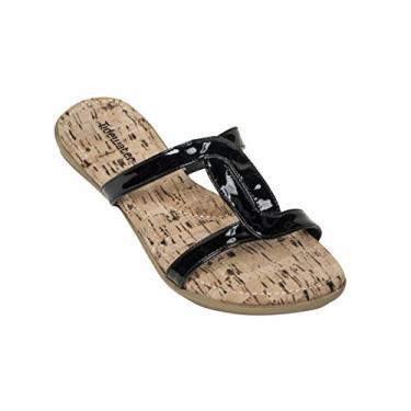 Tidewater sandália feminina com capuz e estampa de bacalhau, Black, Brown, 6