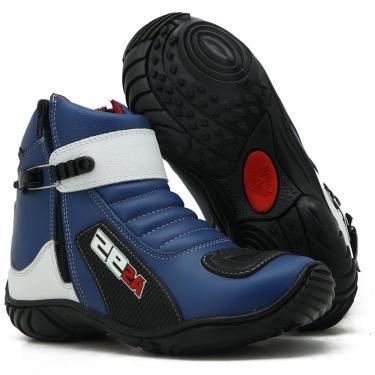 Imagem de Bota Motociclista Masculino Couro Conforto Macio Azul/Branco 36