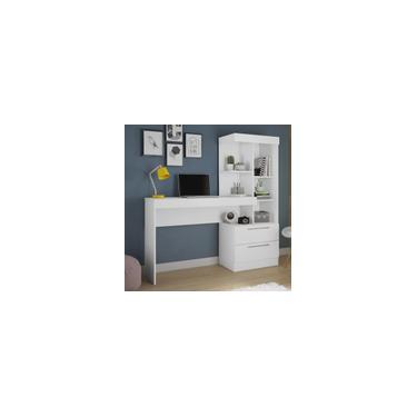 Escrivaninha com Estante Office 2 Gavetas Branco / Branco / Rosa NT2010 - Produto Flex
