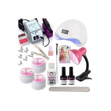 Imagem de Kit Unha Acrigel Fibra Vidro Gel + Lixa Cabine Manicure