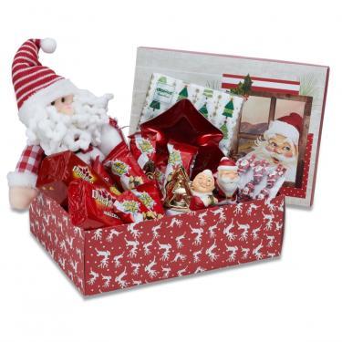 Cesta De Natal Divertida Decoração Natal Chocolate 52 Itens