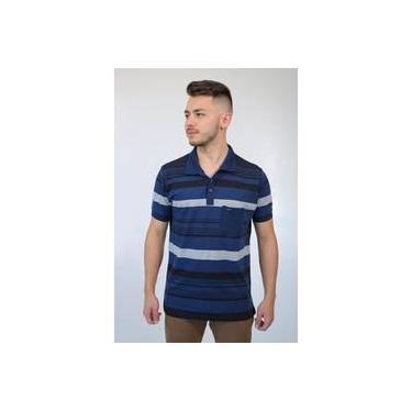 Camisa Masculina Gola Polo Listrada Azul Marinho Baiki Badhai 1a7b4f9aff1f6