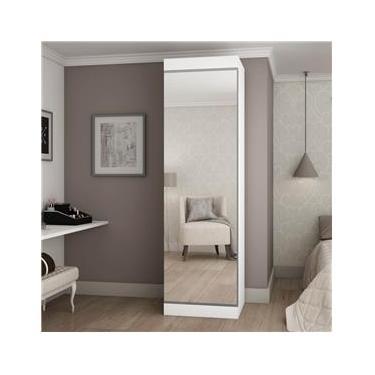 Sapateira 1 Porta com Espelho Esmeralda Gelius Móveis Branco Acetinado