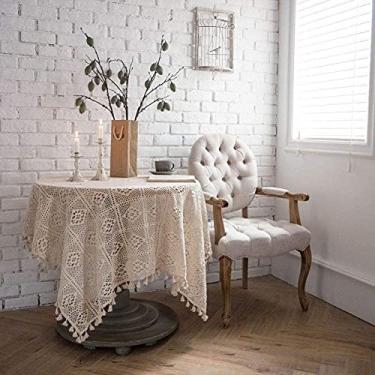 Imagem de Toalha de mesa de algodão vintage crochê macramê renda borla toalhas de mesa costura bege multitamanho retangular 140 x 200 cm -B_140 x 160 cm