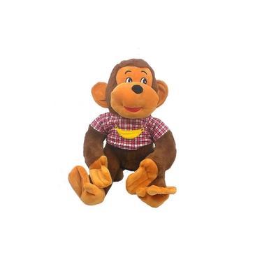 Imagem de Macaco De Pelúcia Marrom Com Camiseta 30 Cm (Sentado)