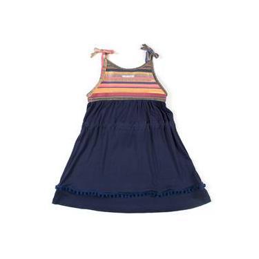 Vestido menina-flor marinho