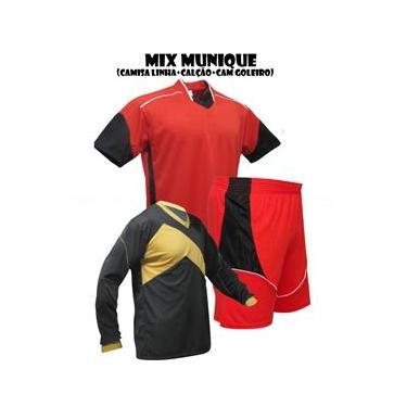 Uniforme Esportivo Munique 1 Camisa de Goleiro Omega + 10 Camisas Munique +10 Calções - Vermelho x Preto x Branco