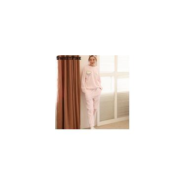 Sweetpine O-neck Nightwear Pijamas Pijamas Terno Flanela Floral Impressão