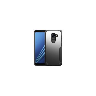 Para Samsung Galaxy A8 plus 2018 Transparente pc + volta caso cobertura tpu completa prova de choque de proteo (preto)