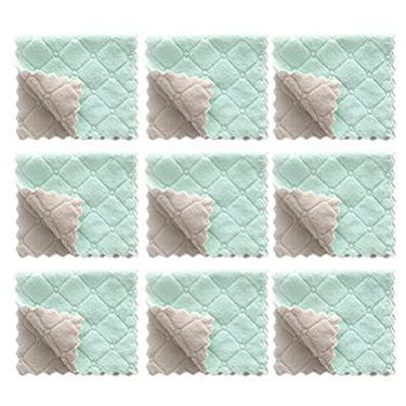 Imagem de HEMOTON 24Pcs Reutilizáveis de Pano de Prato Da Panos De Limpeza Toalha de Mão Super Macio E Absorvente de Algodão de Limpeza Panos de Prato para Lavar Os Pratos Verde Cinza