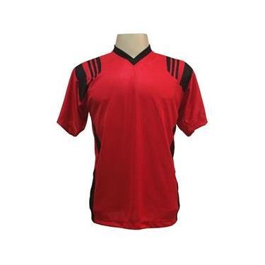 Jogo de Camisa com 12 unidades modelo Roma Vermelho/Preto + 1 Camisa de Goleiro