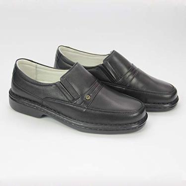 Sapato social masculino, semi- ortopédico em legitimo couro mestiço(pelica), solado de borracha modelo CR-1003 (40, CR1003 Mestiço Preto)