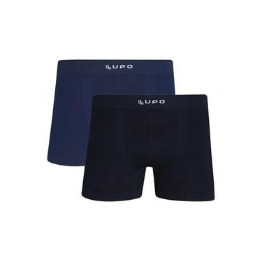 Cueca Boxer kit 2 Lupo Microfibra sem costura 436-088 preto azul branco marinho